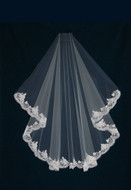 Alencon Lace Waltz Length  Wedding Veil V6656