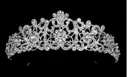 Antique Silver Plated  Rhinestone Wedding Tiara hp4397