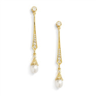 Gold Freshwater Pearl and CZ Vintage Look Bridal Earrings