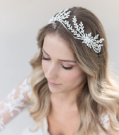 Floral Rhinestone Wedding Headband - Silver, Gold, or Rose Gold
