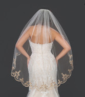 Rose Gold Embroidery Wedding Veil Symphony Bridal 7229VL