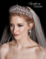Crystal and Rhinestone Floral Wedding Tiara Symphony Bridal 8055CR