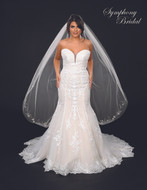 Waltz Length Wedding Veil with Vine Design Symphony Bridal 7139VL