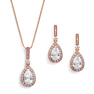 14K Rose Gold Plated Pear Shape CZ Bridal and Formal Jewelry Set