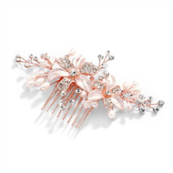 Enchanting  Rose Gold Freshwater Pearl Wedding Comb 3578HCR
