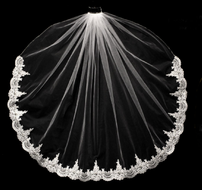 Beaded Partial French Alencon Lace Fingertip Wedding Veil