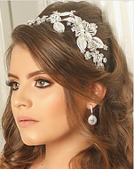 Asymmetrical Floral Wedding Headband- Silver, Gold or Rose Gold