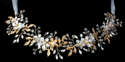 Gold Floral Ribbon Wedding Headband with Rhinestones and Crystals