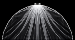 "Regal Cathedral Beaded Edge Extra Width 144"" Long Wedding Veil"
