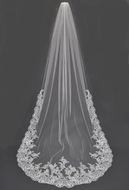 Royal Cathedral Wedding Veil With Floral Lace Edge and Applique
