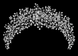 "3 1/2"" Rhinestone Spray Wedding Headpiece in Silver or Rose Gold"
