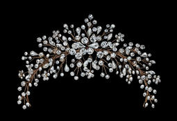 Rhinestone Spray Wedding Headpiece in Silver or Rose Gold