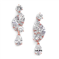 Rose Gold  CZ Mozaic and Teardrop Wedding Earrings