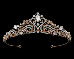Rose Gold Rhinestone Scroll Bridal and Quinceanera Tiara