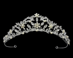 Romantic Floral Crystal and Rhinestone Bridal Tiara