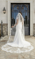 Cathedral Wedding Veil with Beaded Partial Lace enVogue V2098C