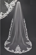 Regal Ivory Lace Design Royal Cathedral Wedding Veil