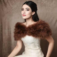Chocolate Brown Vintage Inspired Marabou Feather Bridal Stole Wrap