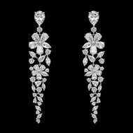 Floral CZ Drop Wedding and Formal Earrings