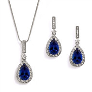 Sapphire Blue CZ Bridal and Formal Jewelry Set