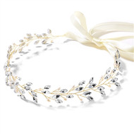 Gold Plated Crystal and Freshwater Pearl Boho Bridal Headband