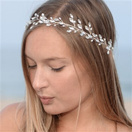 Silver Crystal and Freshwater Pearl Boho Bridal Headband