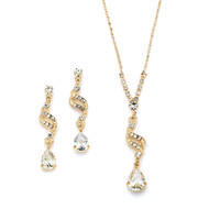 5 Sets 14K Gold Sparkling CZ Teardrop Bridesmaid Jewelry