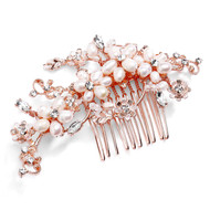 Rose Gold Freshwater Pearl Bridal Comb