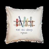 Canvas Pillow-Eat Sleep Ski