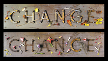 """Change Chance! An archival print of two images created for the front and back covers of """"Change,"""" the first in our twenty year series of long, literate, themed calendars."""