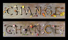 """Epson archival print of the two constructions created for the front and back covers of """"Change"""" the first in our long, literate and artful calendars series."""