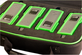 Protective storage for four additional remotes in one convenient carrying case.