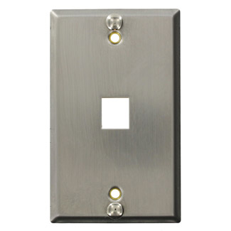 LEVITON 4108W-0SP QUICKPORT MODULAR WALL-PLATE 1-PORT STAINLESS STEEL 1-GANG