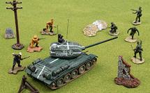 KMDB T-34 Diecast Model Soviet Army, w/8 Figures