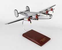 B-24J Liberator Silver 1/72 Mahogany Display Model