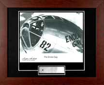Enola Gay nose framed photograph signed by Navigator Dutch Van Kirk