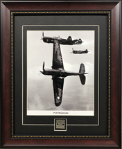 P-40 Warhawk in formation print framed and matted to include fuselage metal by Century Concept