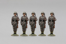 Five 12th SS Panzer Division Hitlerjugend Soldiers Facing Front WWII, five figures