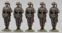 Five 12th SS Panzer Division Hitlerjugend Soldiers Looking Right WWII, five figures