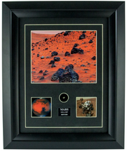 Framed Photograph of Mars Meteorite Print with Specimen