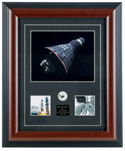 Framed Photograph of Mercury Atlas-1 with Nasa Relic Included