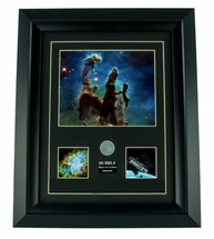 Framed Photograph of Hubble Commemorative 25th Anniversary Print w/ Coin