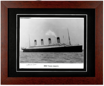 Framed Photograph of RMS Titanic Signed by Survivor Millvina Dean