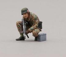 12th SS Hitlerjugend Soldier Crouched Kneeling with MP-40, single figure
