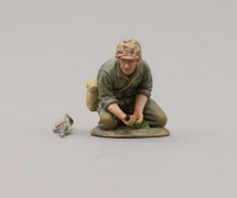 Kneeling USMC Soldier Inserting 37mm ammo, single figure and loose carbine
