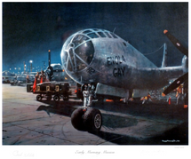 Early Morning Mission Lithograph Signed by General Paul W Tibbets, Pilot And Theodore Dutch Van Kirk, Navigator