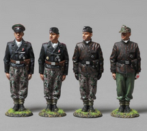 Four German Tankers, 12th SS Panzer Division--one NCO figure and three tanker figures, WWII