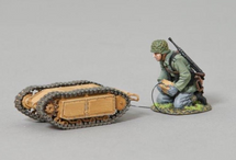 German Goliath Tracked Mine Vehicle with Engineer Operator, single figure and single tracked mine vehicle figure WWII