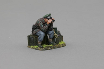 SS Officer Sitting on Crate Looking Through Binos, single figure