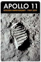 Apollo 11 50th Anniversary Bootprint Boot Print in Lunar Soil Black Metal Sign Pasttime Signs